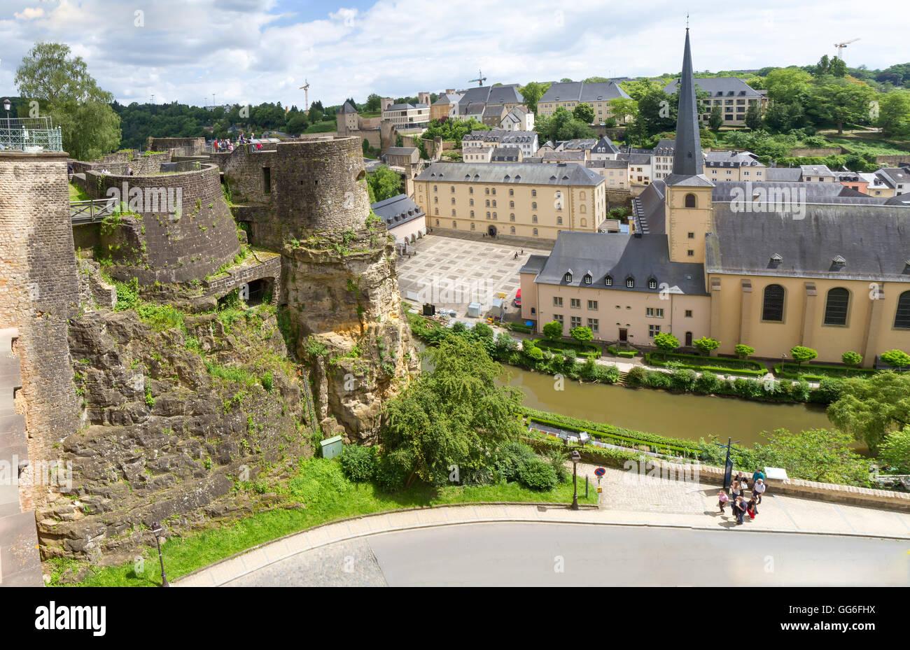 Abbaye de Neumünster in Luxemburg. Ansicht von oben. Stockbild
