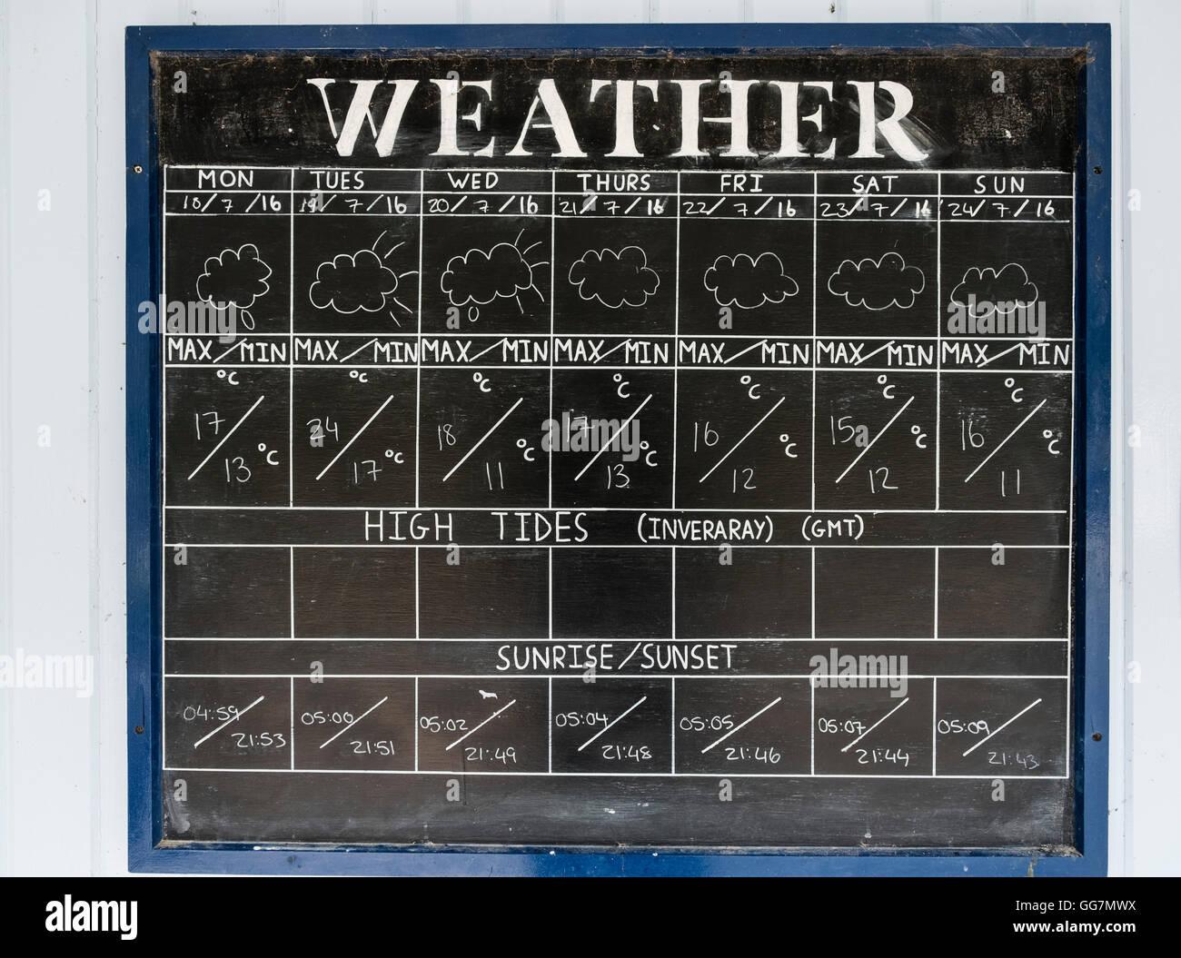 Tafel zeigt aktuelle Wettervorhersage Inveraray in Argyll und Bute in Schottland, Vereinigtes Königreich Stockbild
