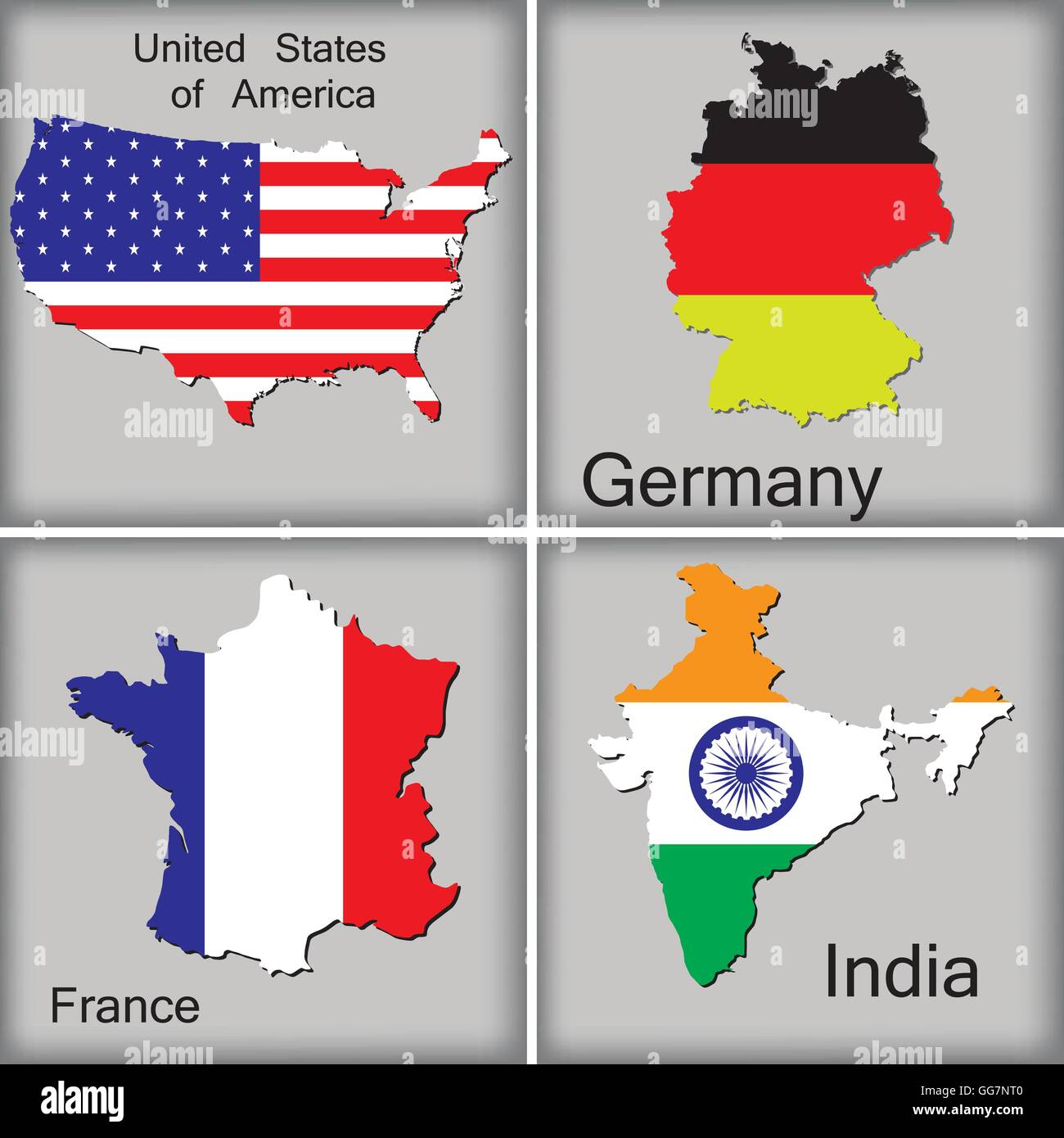 Karten Von Usa Deutschland Frankreich Und Indien Auf Grauem