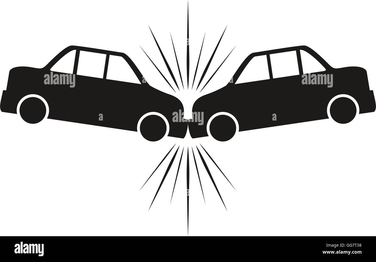 Auto Unfall Silhouette Versicherung Fahrzeugsymbol. Vektorgrafik ...