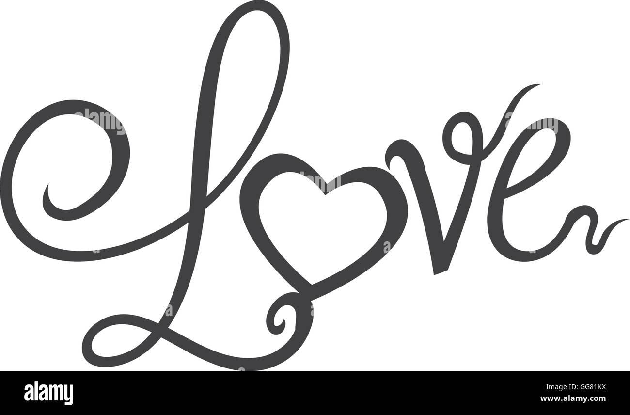 Herz Text Liebe Form Brief Symbol Vektorgrafik Vektor Abbildung
