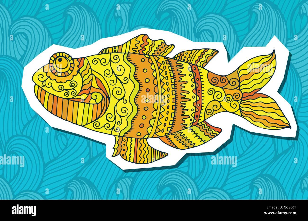 Fisch von hand bemalt. Bildende Künste Stockbild