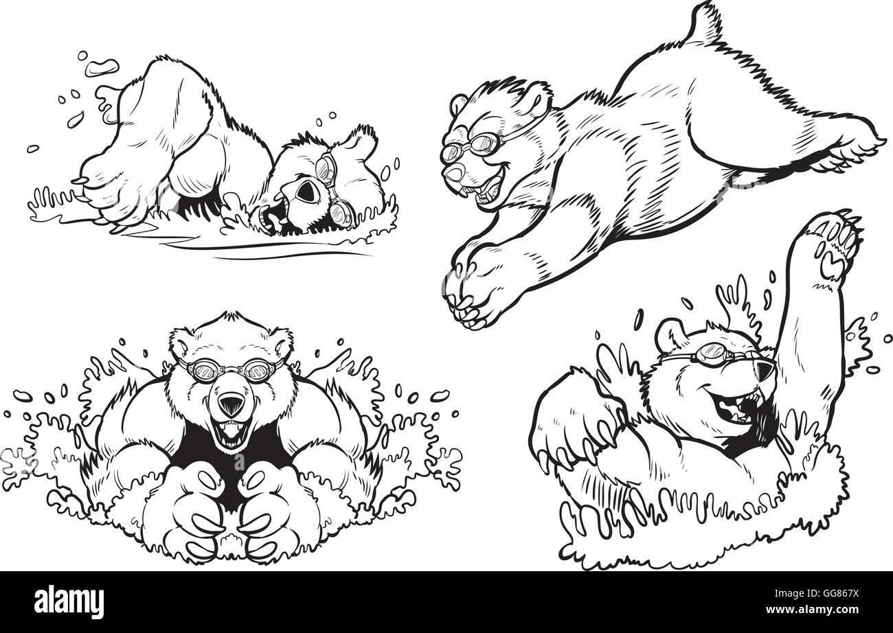 Schwarz Weiß Cartoon Clip Art Vektorgrafik Set Bären Schwimmen Und