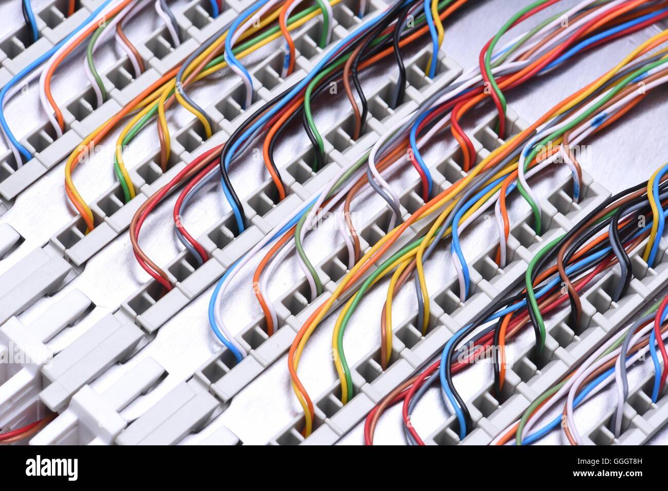 Telekommunikation-Hauptverteiler mit Kabeln, Nahaufnahme Stockfoto ...