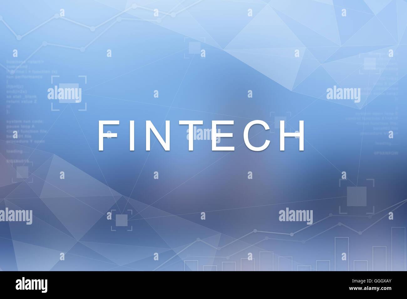 FinTech oder Finanztechnologie Wort auf blauen unscharf und Polygon-Hintergrund Stockbild