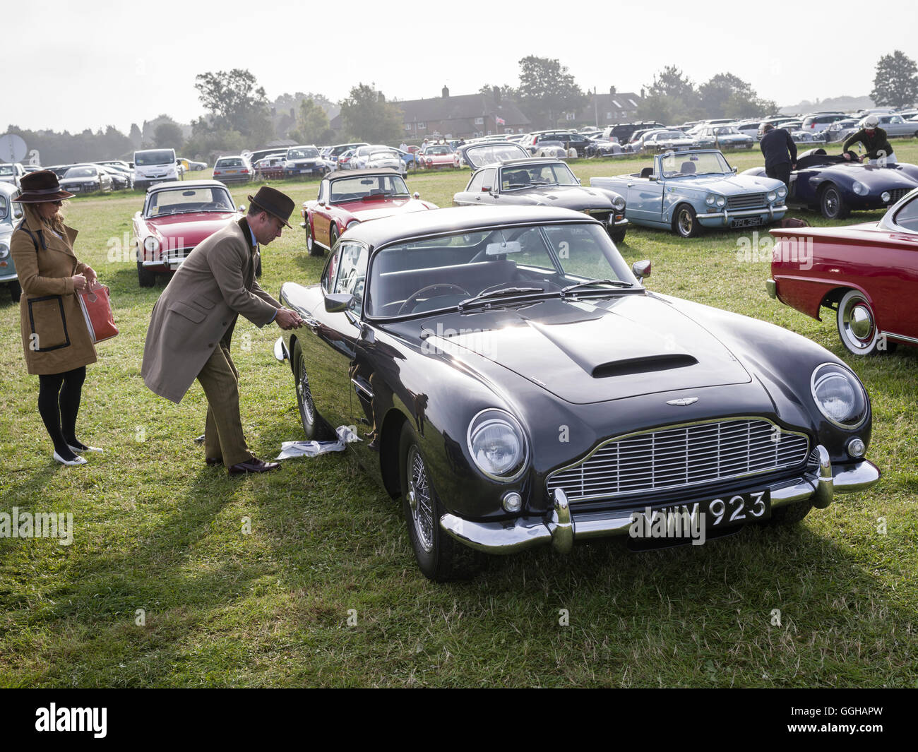 Aston Martin DB5, Besucher-Parkplatz, Goodwood Revival 2014, Racing Sport, Oldtimer, Goodwood, Chichester, Sussex, Stockbild