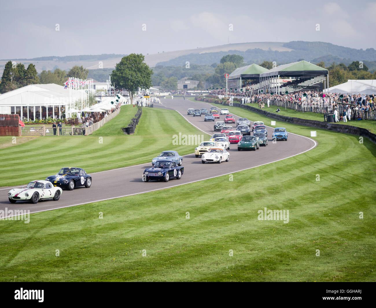 Fordwater Trophy, beim Goodwood Revival 2014, Rennsport, Oldtimer, Goodwood, Chichester, Sussex, England, Großbritannien Stockfoto