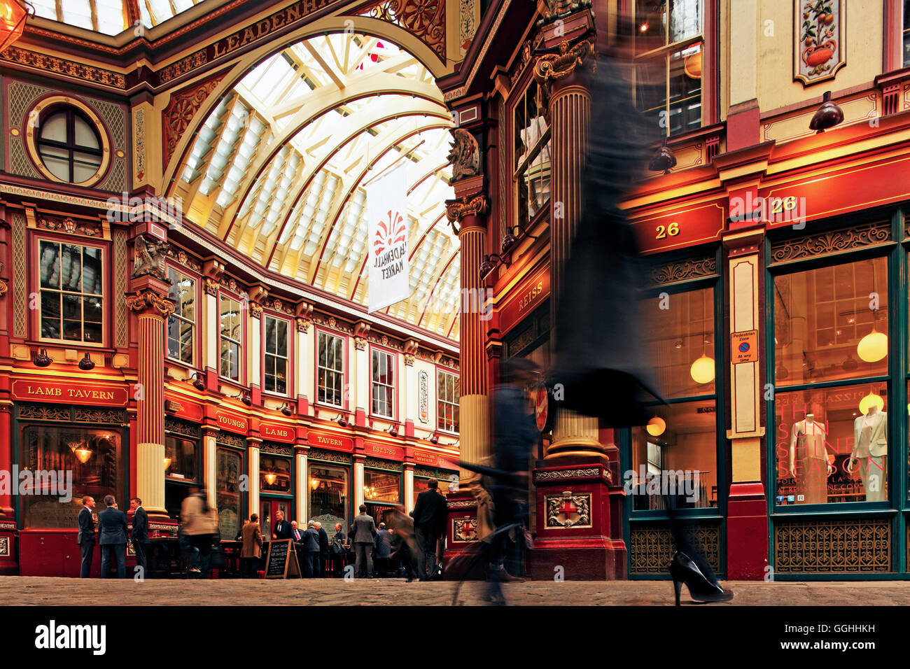 Leadenhall Market, Stadt, London, England, Vereinigtes Königreich Stockbild