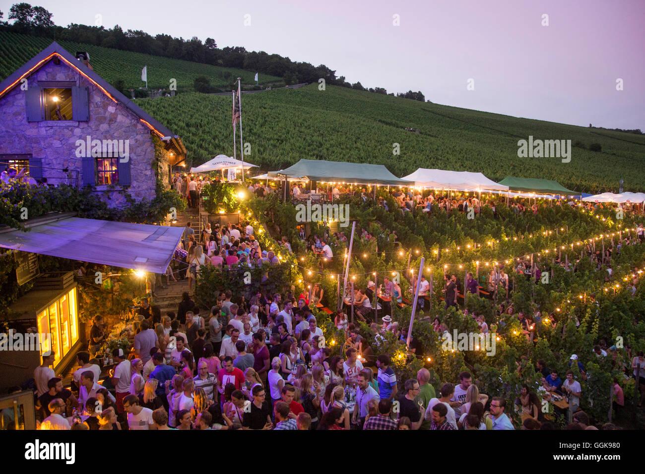 Menschen bei Hoffest Feier im Weingut bin Stein Weingut in der Abenddämmerung, Würzburg, Franken, Bayern, Stockbild