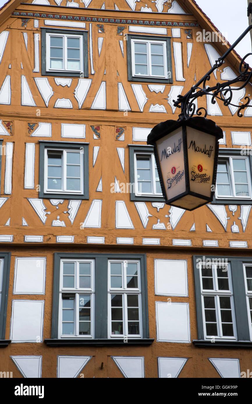Maulaff bar Schild Lampe und Holz Rahmen Bau in der Altstadt ...