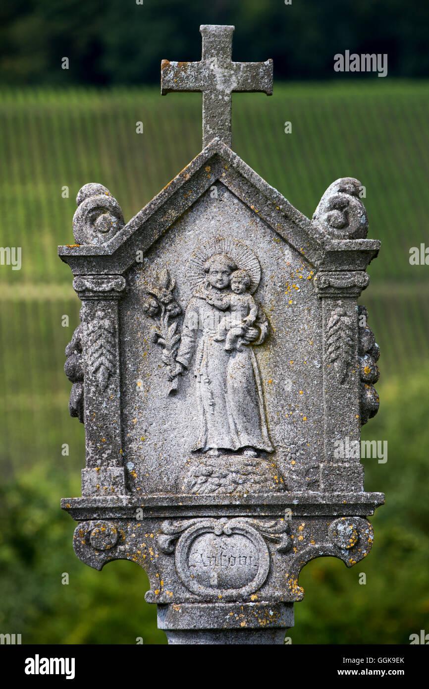 Bildstock in der Nähe von Sommerach, Franken, Bayern, Deutschland Stockbild