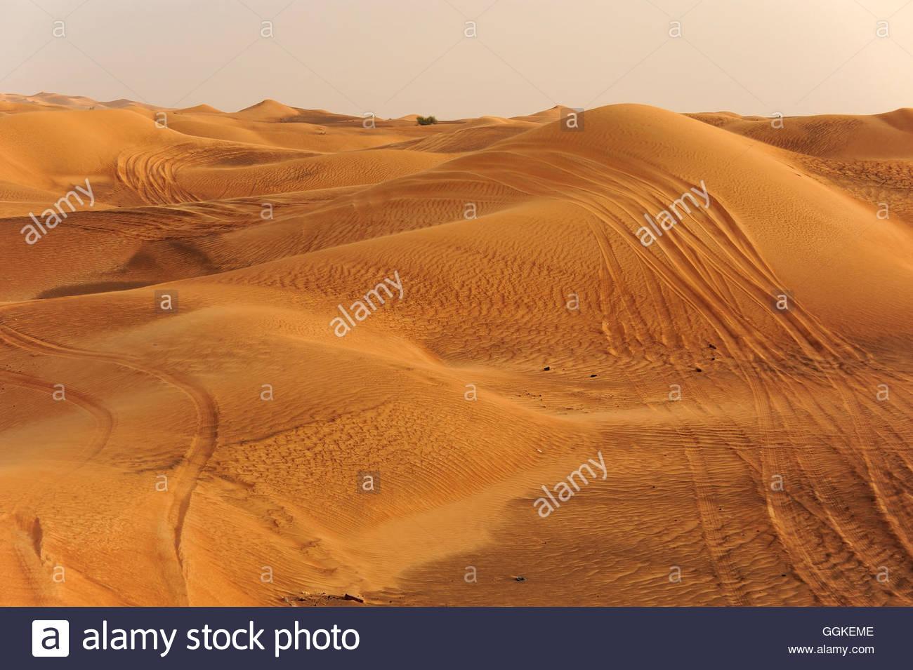 Bremsspuren in der Wüste in der Nähe von Dubai, Vereinigte Arabische Emirate Stockfoto