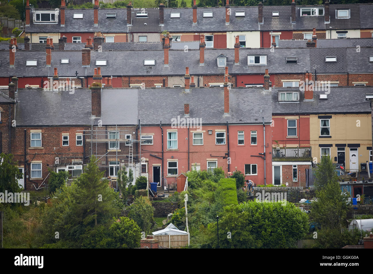 STOCKSBRIDGE Sheffield Wohnungsbestand typische STOCKSBRIDGE Sheffield Yorkshire Reihenhaus Häuser Häuser Stockbild