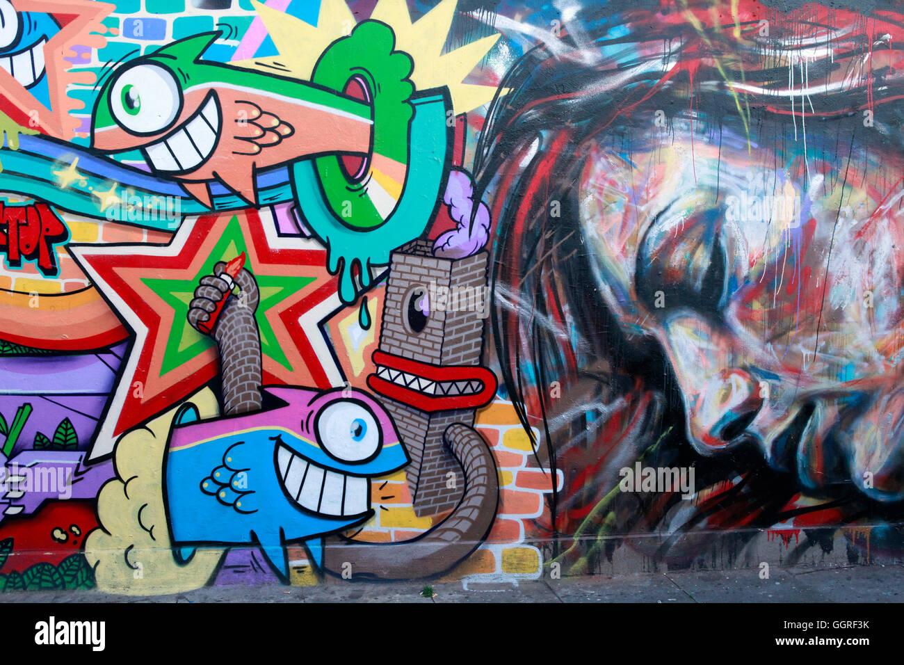 Graffiti auf dem Beco do Batman in Vila Madalena, Sao Paulo, Brasilien Stockfoto