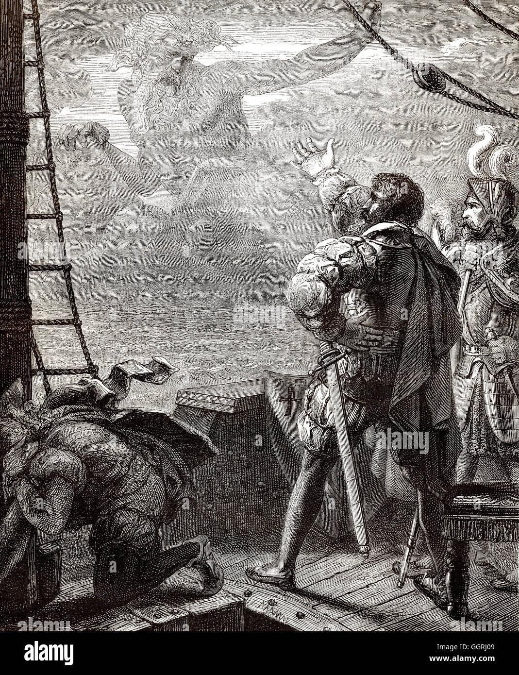 Adamastor, einem mythologischen Charakter des portugiesischen Dichters Luís de Camões in seinem epischen Stockbild