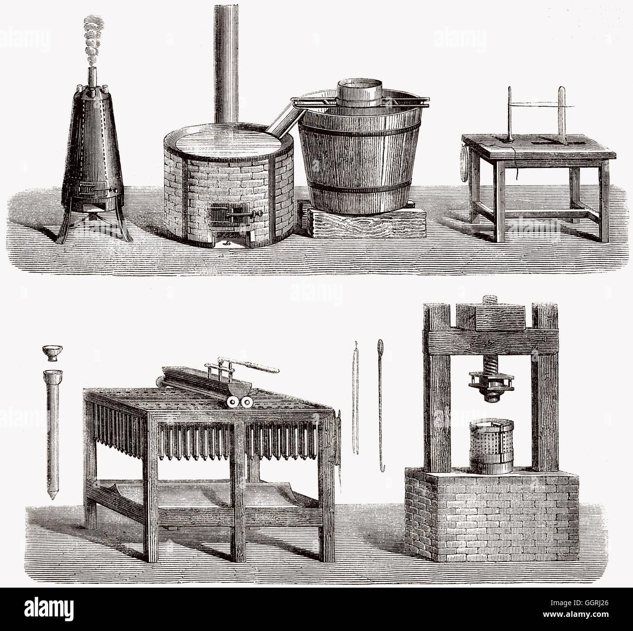 Kerzenproduktion im 19. Jahrhundert Stockbild