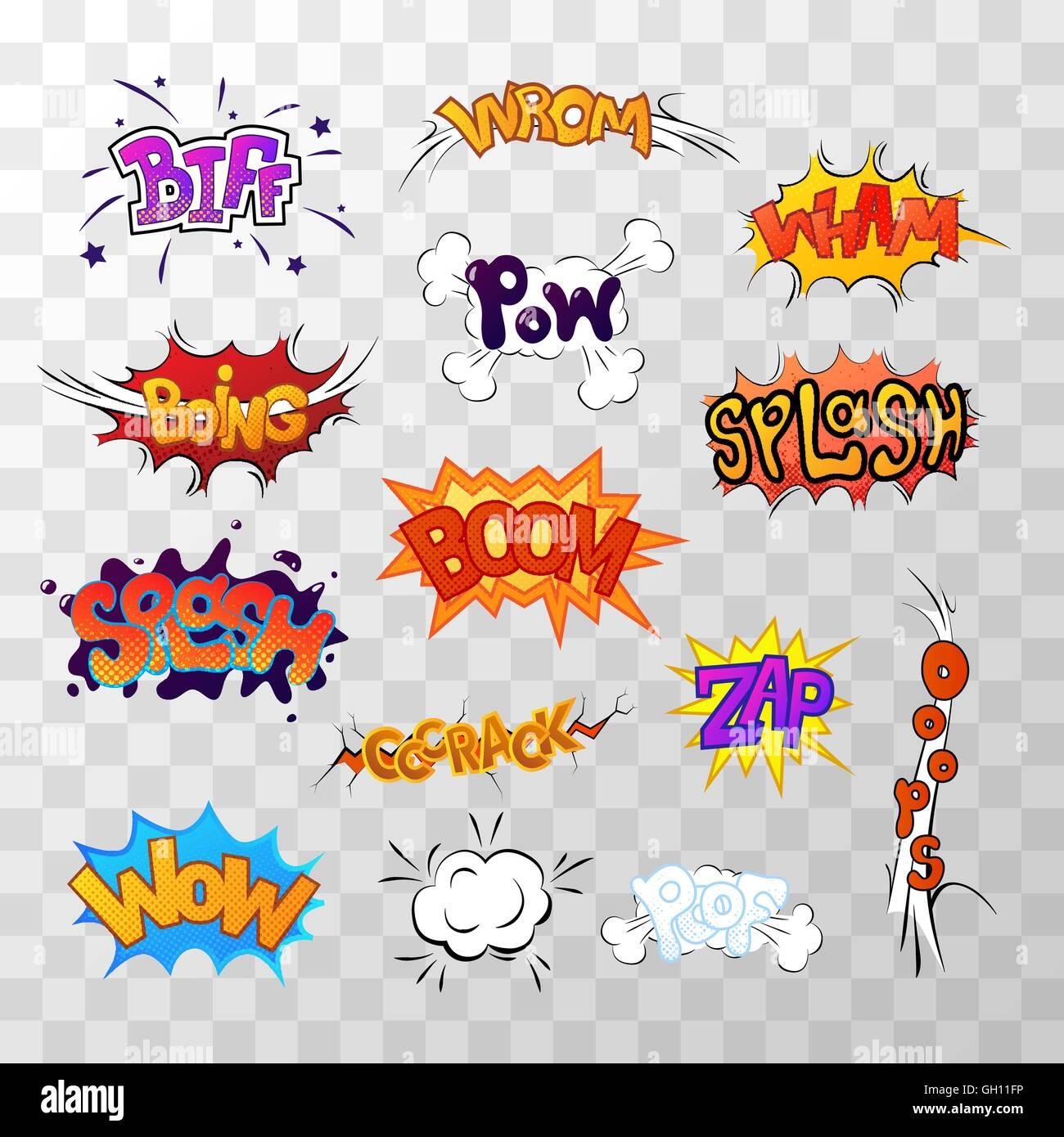 Große Reihe von hellen Multi farbige Comic-Sound-Effekte Vektor ...
