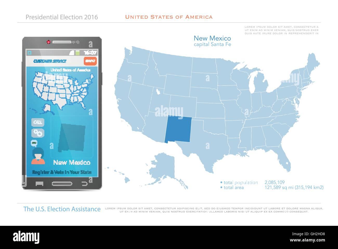 Vereinigte Staaten Von Amerika Karten Und New Mexico Staatsgebiet