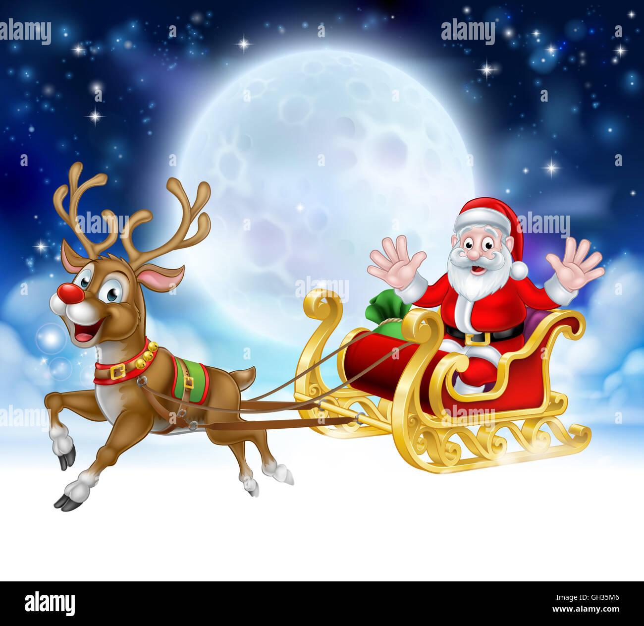 Cartoon-Weihnachts-Szene des Charakters der Weihnachtsmann in seinem ...