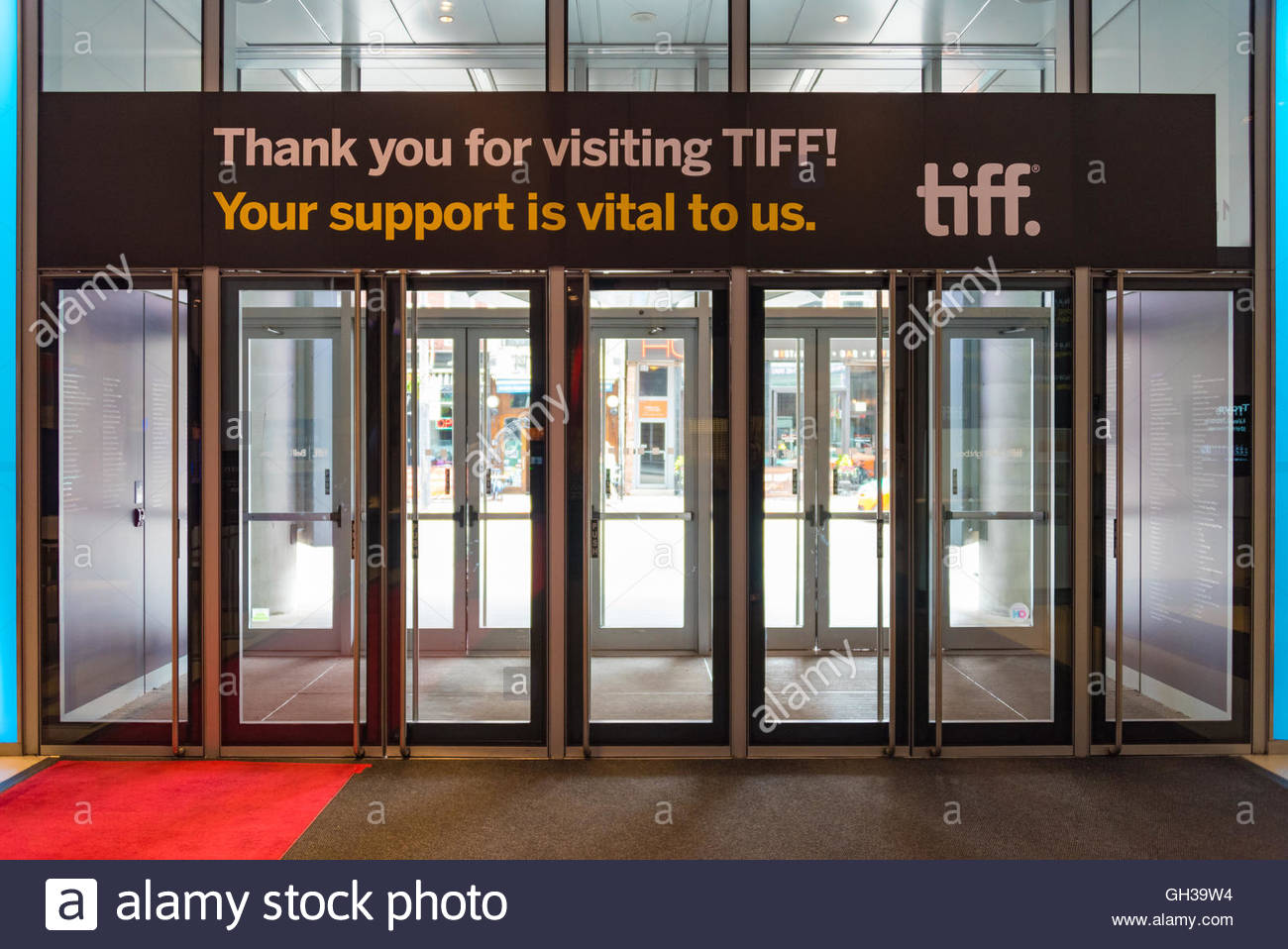 TIFF-Eingang des Gebäudes. Das Toronto International Film Festival ist ein öffentlich besuchte Filmfestival Stockbild