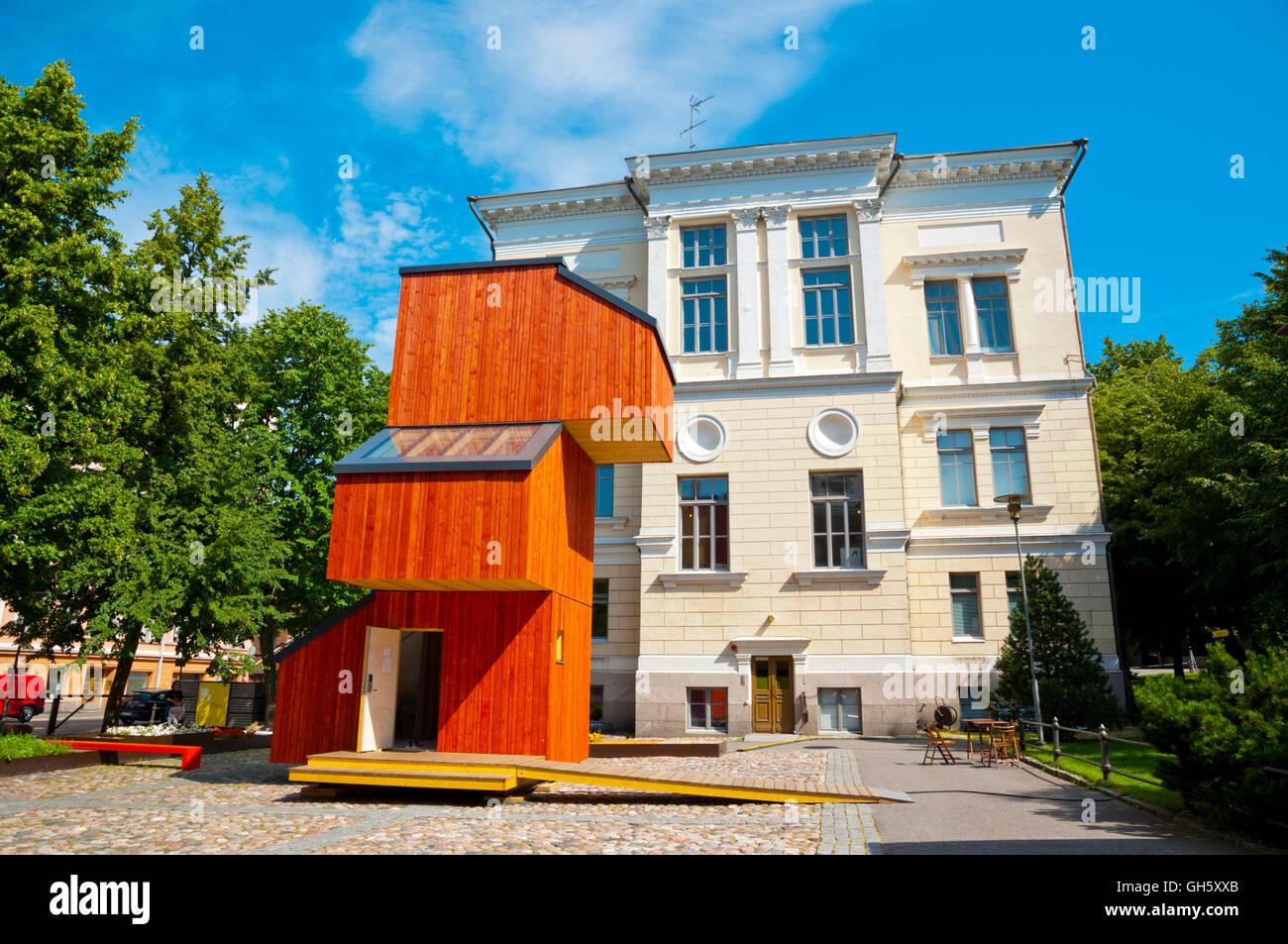 Suomen Arkkitehtuurimuseo, Museum für finnische Architektur mit KoKoon Holzgebäude, Helsinki, Finnland Stockbild