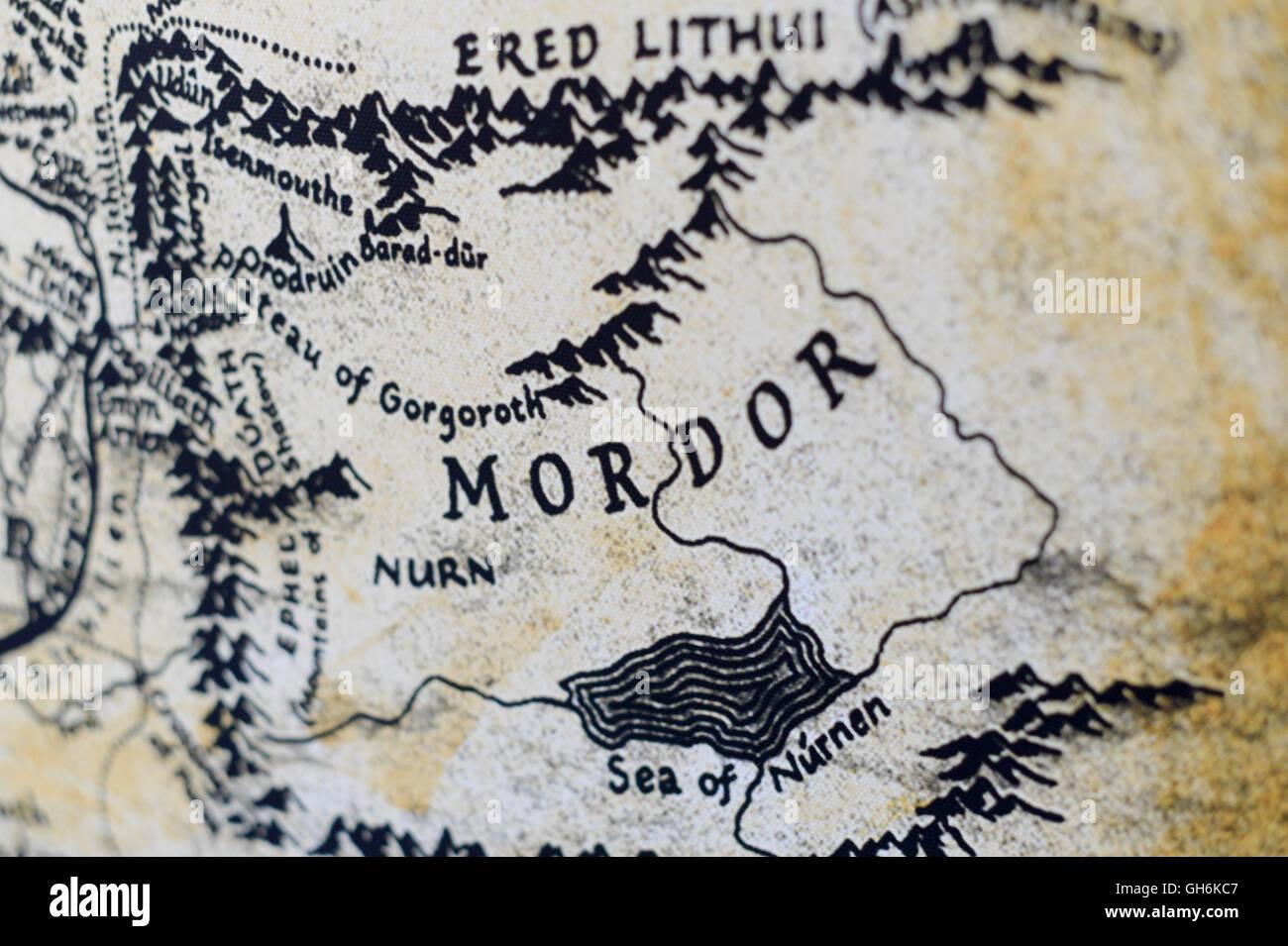 mordor karte Karte von Mordor aus der Herr der Ringe von JRR Tolkien Stockfoto