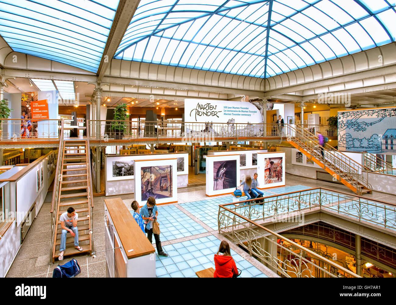 Innere des Comic-Strip-Museum Kunst in Brüssel, Belgien Stockbild