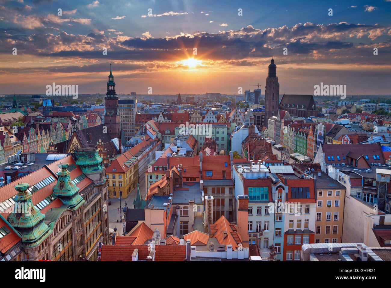 Wroclaw. Bild von Wroclaw, Polen im Sommer Sonnenuntergang. Stockbild