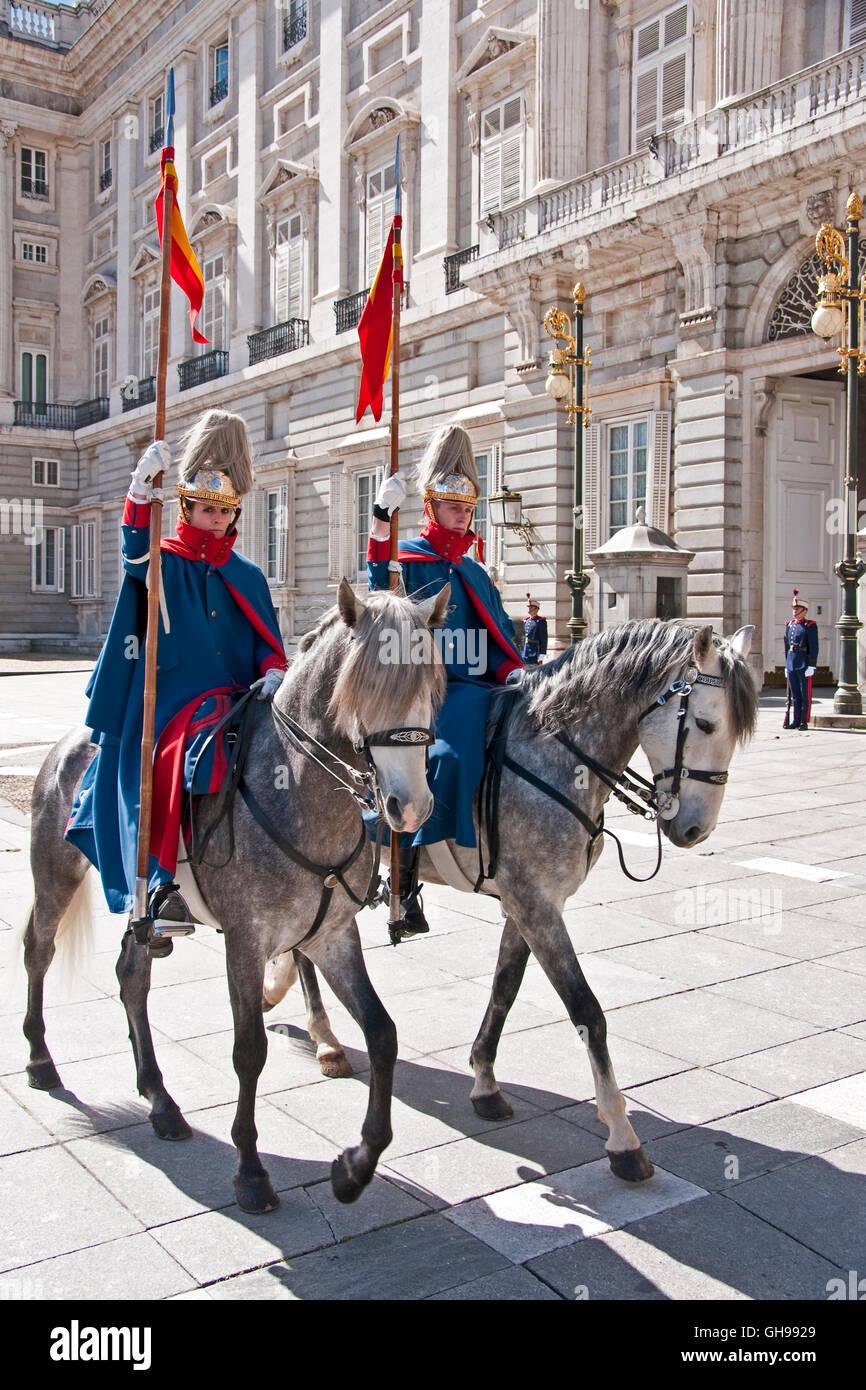 Königspalast von Madrid Horse guards Stockbild