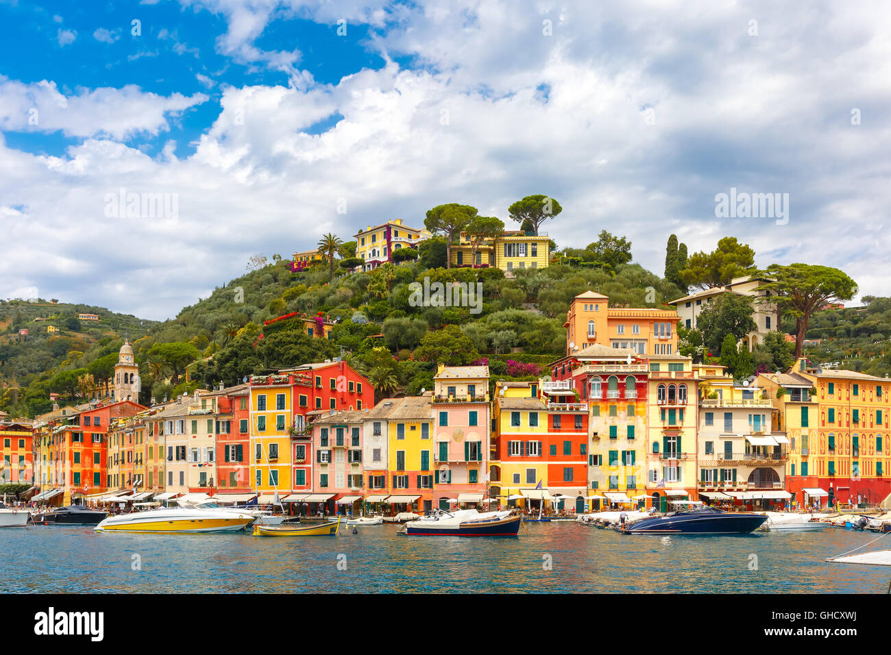 Panorama von Portofino, italienische Riviera, Ligurien Stockbild