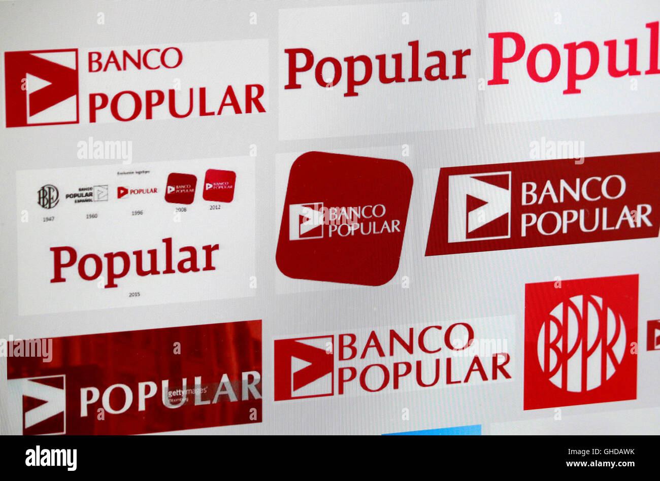"Loge der Marke ""Banco Popular"", Berlin. Stockbild"