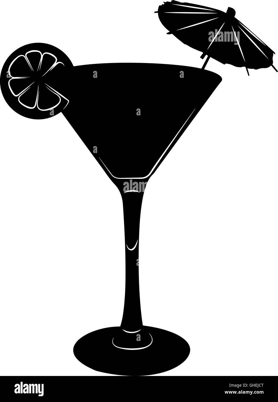 martini cocktail glas abbildung mit sonnenschirm und. Black Bedroom Furniture Sets. Home Design Ideas