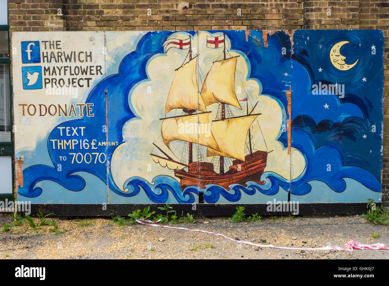 Die Harwich Mayflower Project sign Stockbild