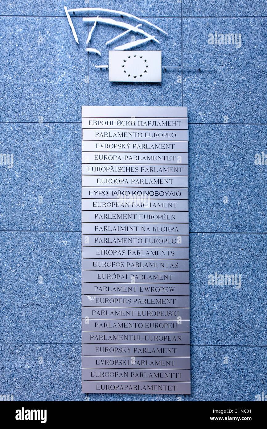 Mitglieder der Europäischen Union an der Wand von den Gebäuden des Europäischen Parlaments in Brüssel, Stockbild