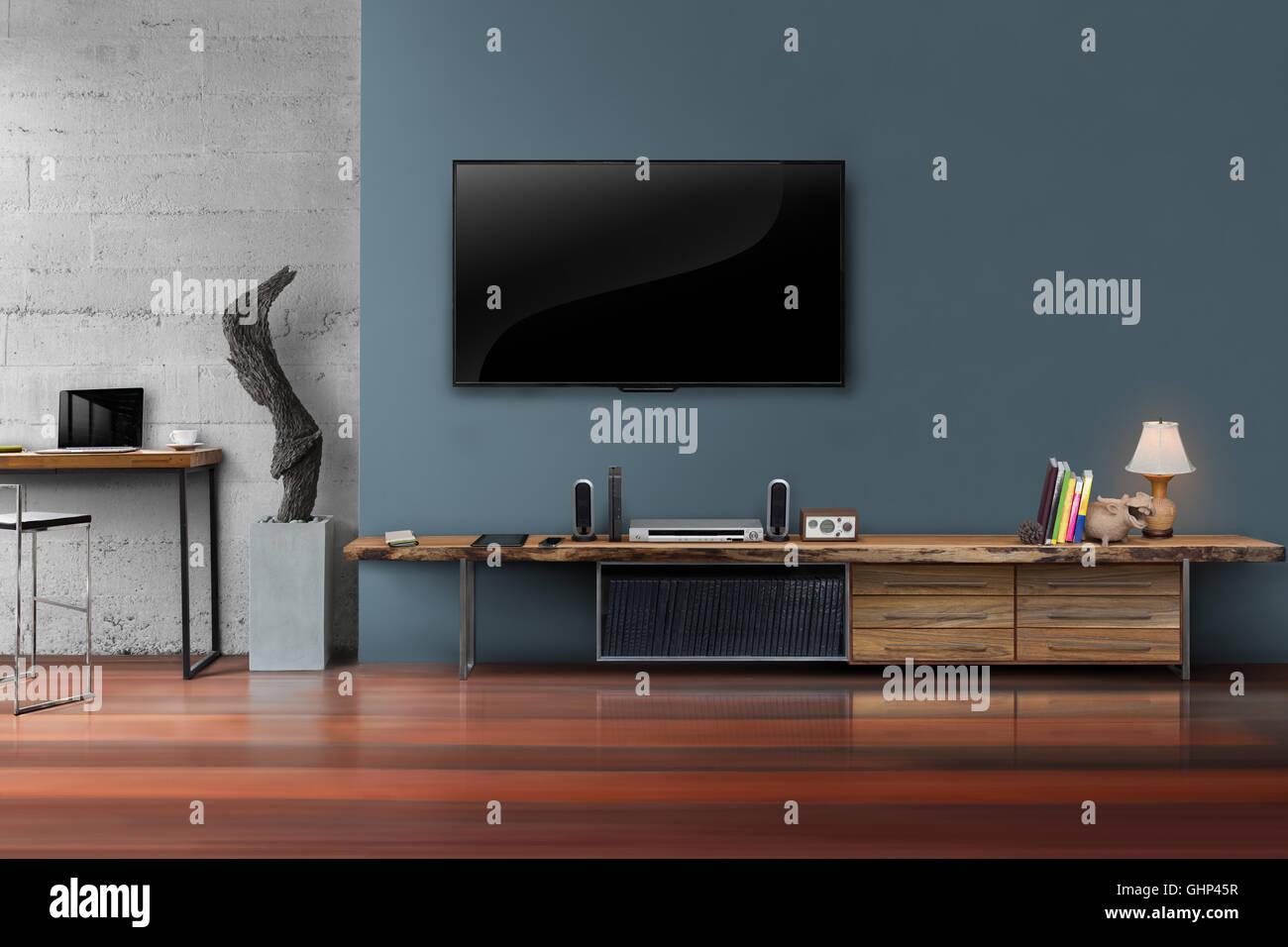 Wohnzimmer Leuchtet Tv Dunkel Blaue Wand Mit Holztisch Medien Möbel Moderne  Loft Stil