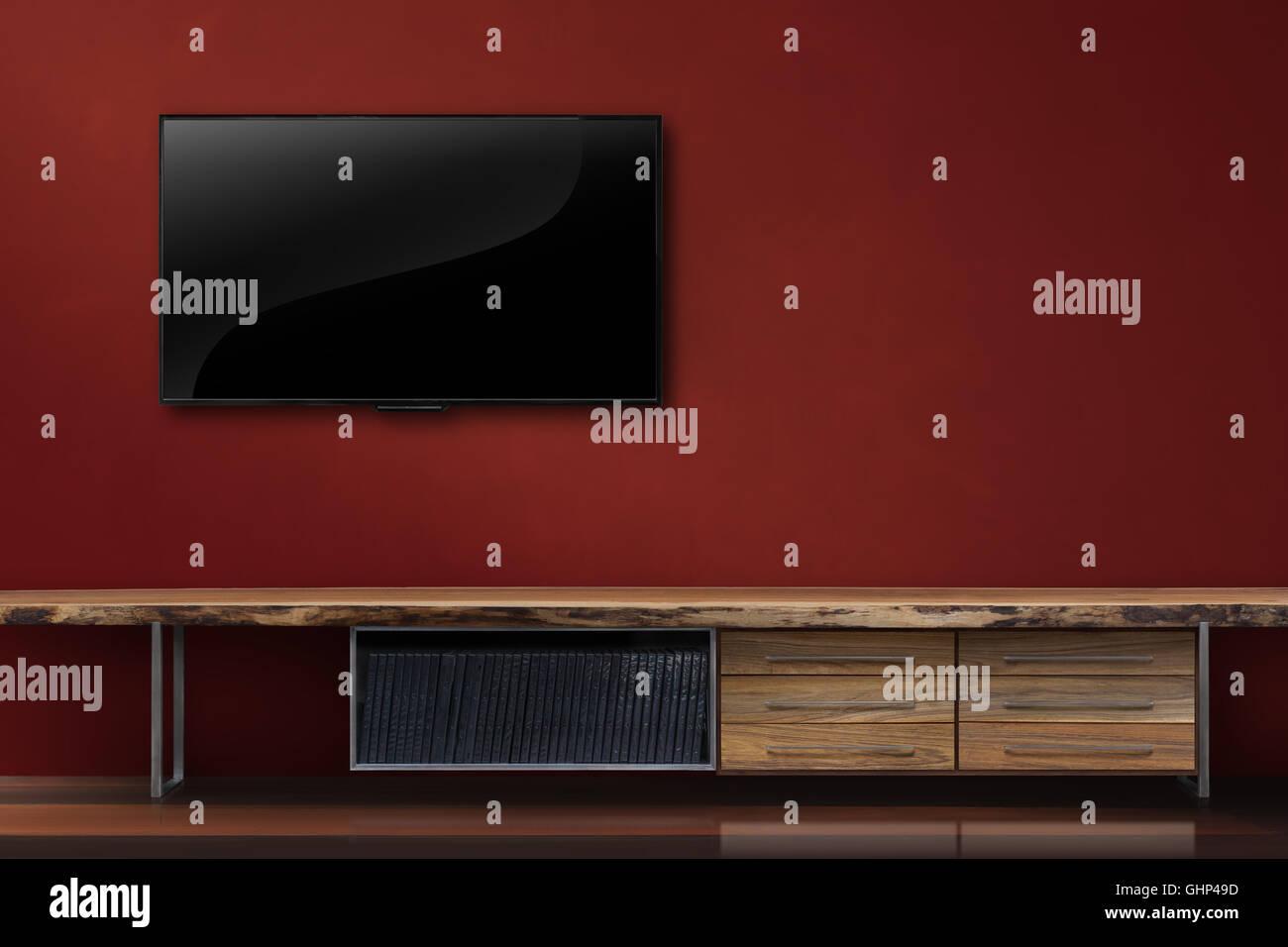 Wohnzimmer leuchtet tv rote Wand mit Holztisch modernen Loft ...