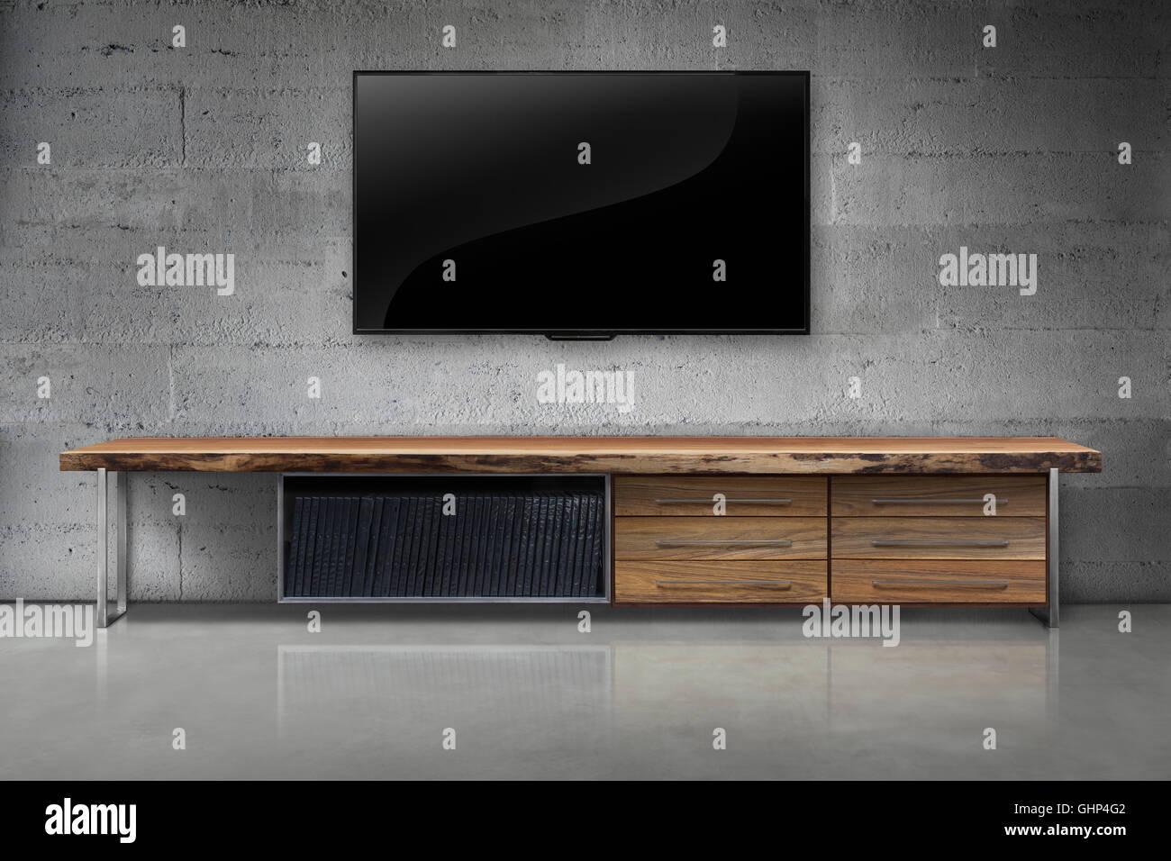 LED-tv auf Farbe Betonwand mit Holztisch Wohnzimmer Interieur ...