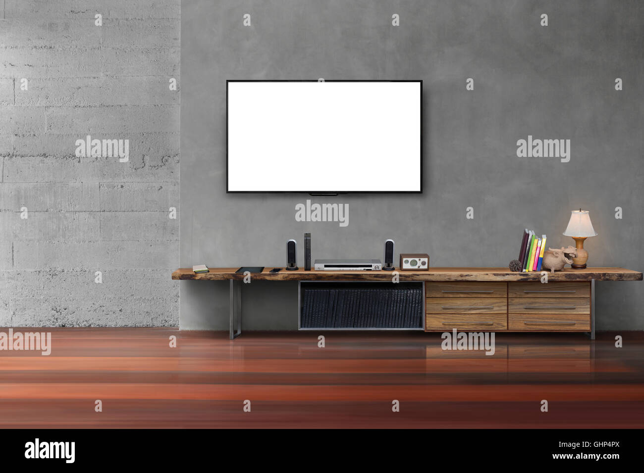 Led leeren Wohnzimmer mit Flachbildschirm auf Betonwand mit ...