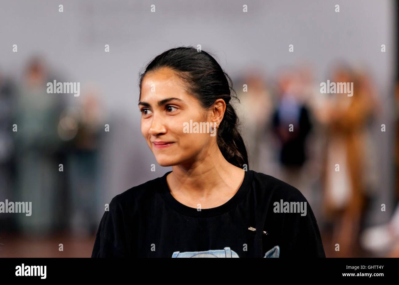 Kopenhagen, Dänemark, 10. August 2016: Shila Louise Gaonkar gewinnt Designer Nest-Preis für junge Talente Stockbild
