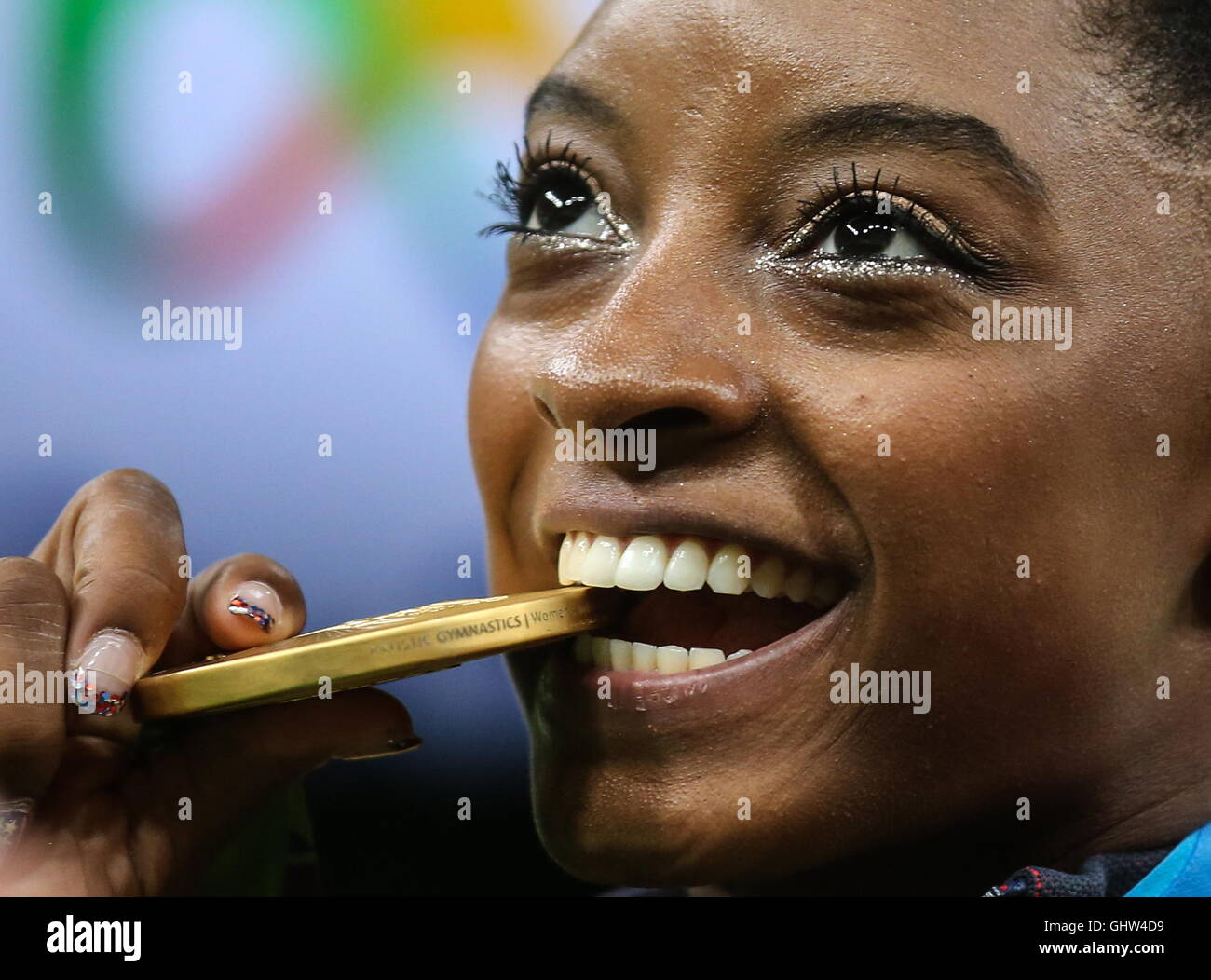 Rio De Janeiro, Brasilien. 11. August 2016. Goldmedaillengewinner Simone Biles der USA bei einer Preisverleihung Stockbild