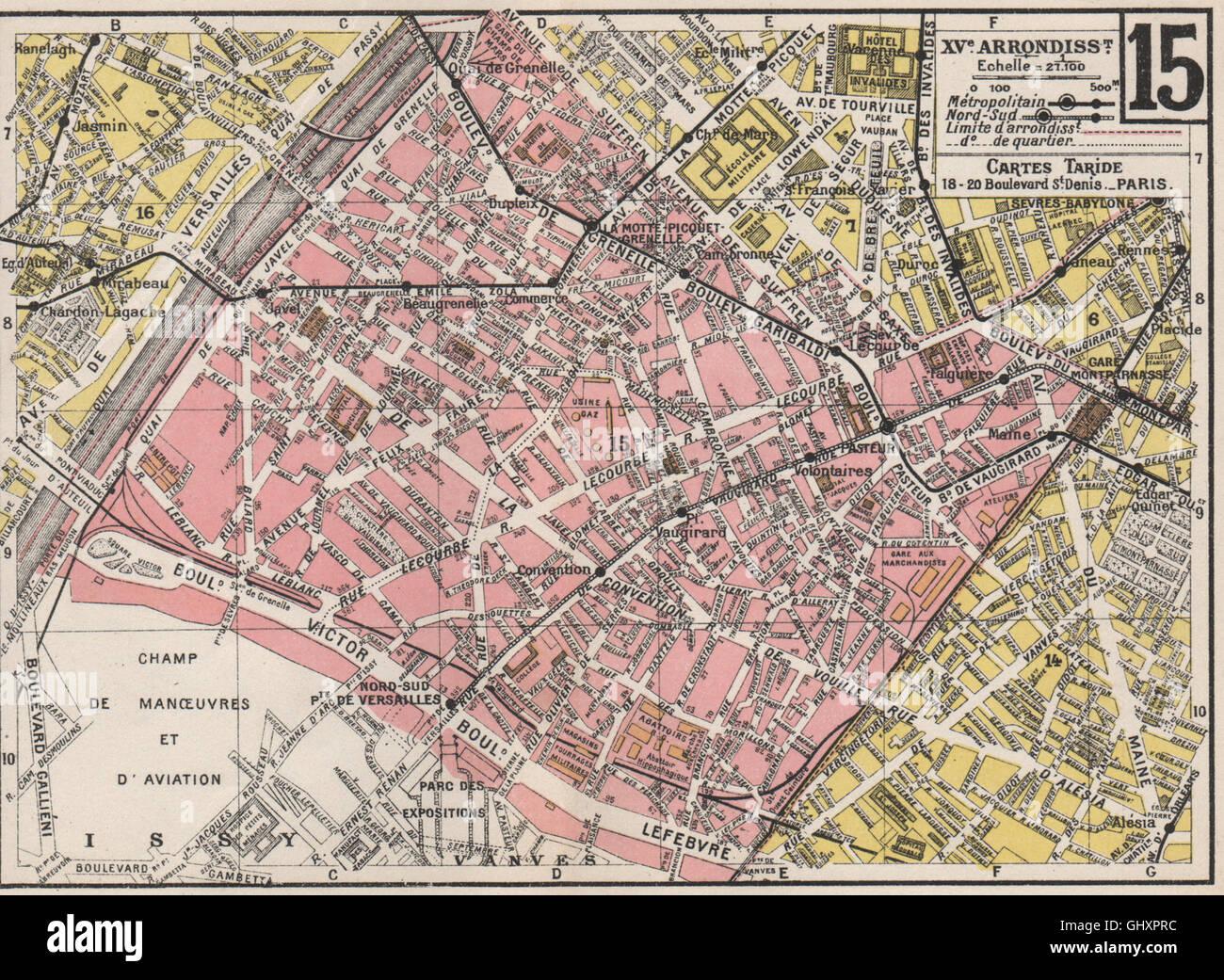 Karte Paris Arrondissement.Paris 15 15e Xve Arrondissement Vaugirard Taride 1926