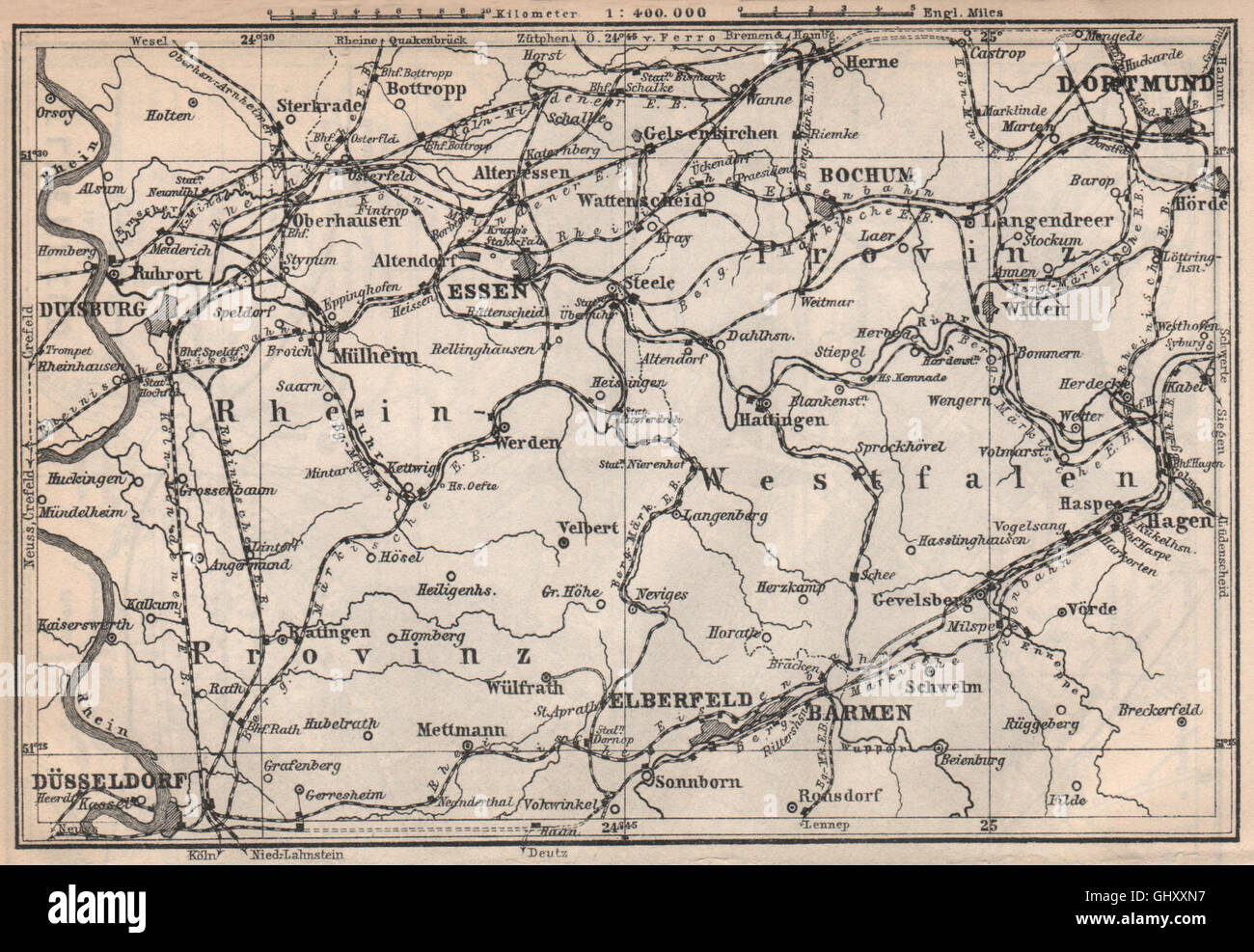 Karte Ruhrgebiet.Ruhrgebiet Ruhr Eisenbahnen Düsseldorf Duisburg Dortmund Essen