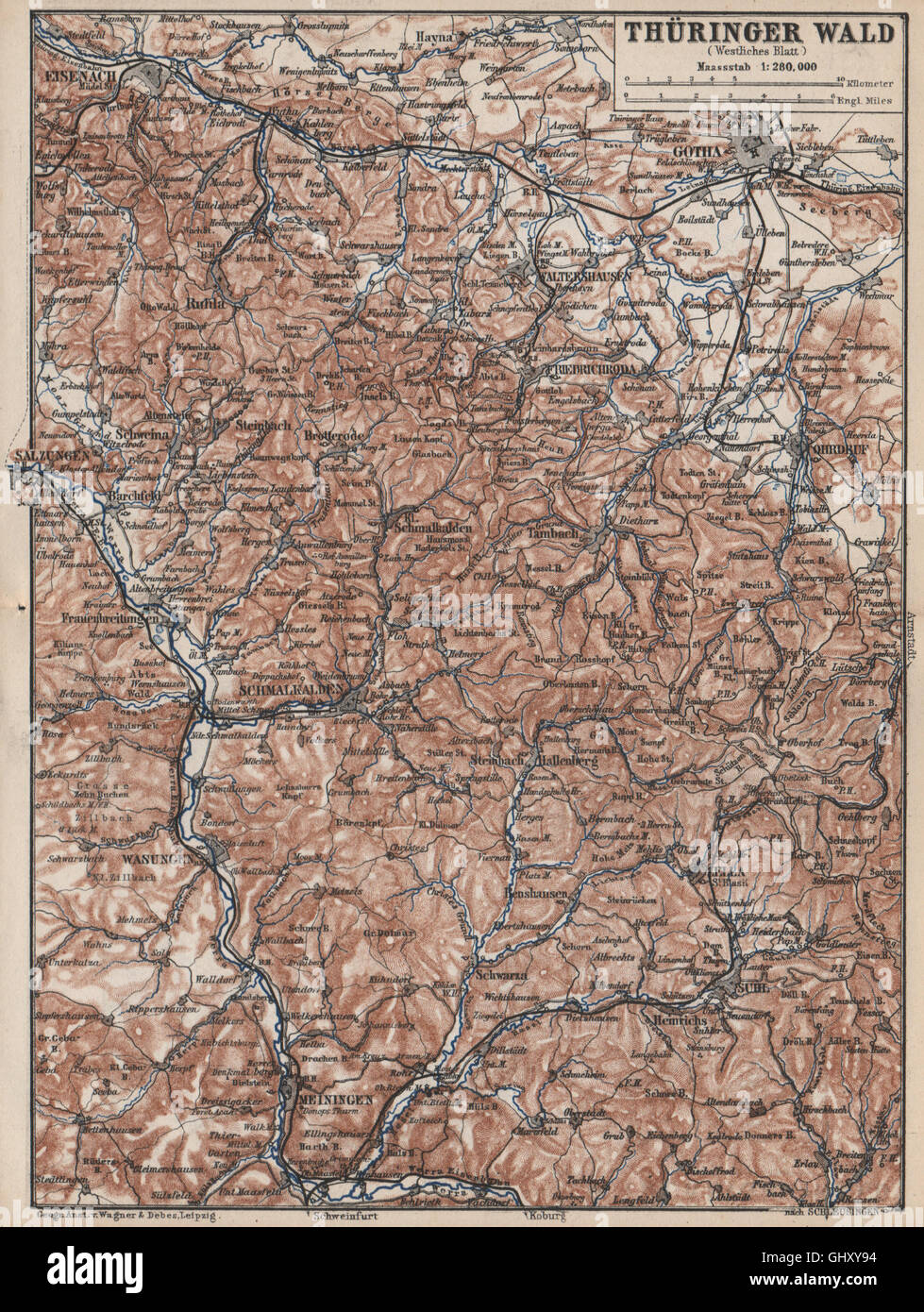 Thüringer Wald Karte.Thüringer Wald West Thüringer Wald Gotha Meiningen Eisenach Zella