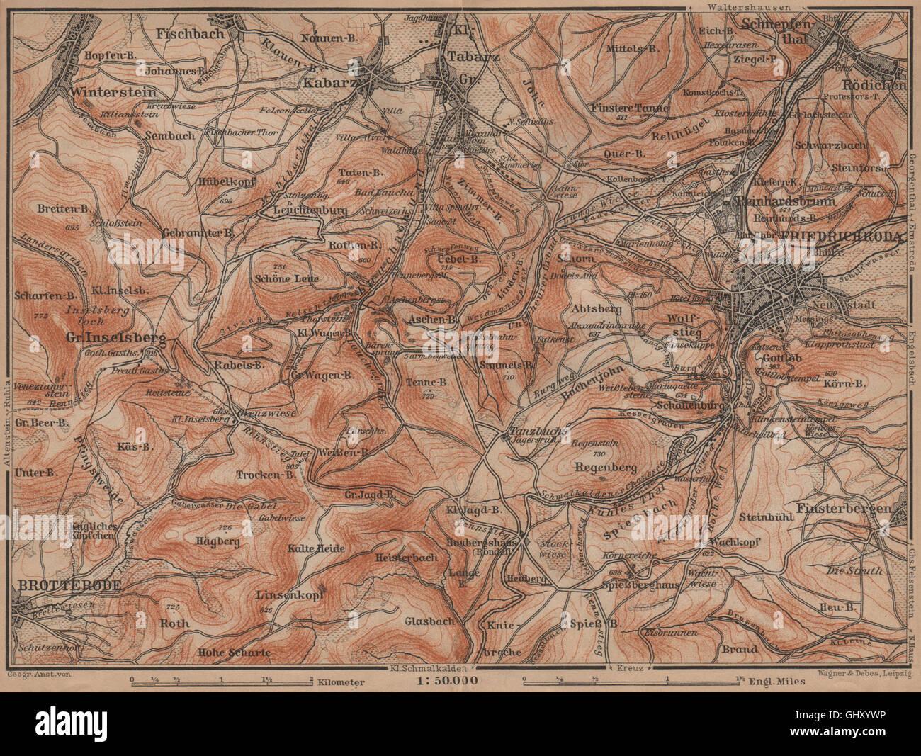 Thüringer Wald Karte.Friedrichroda Thüringer Wald Großer Inselsberg Brotterode