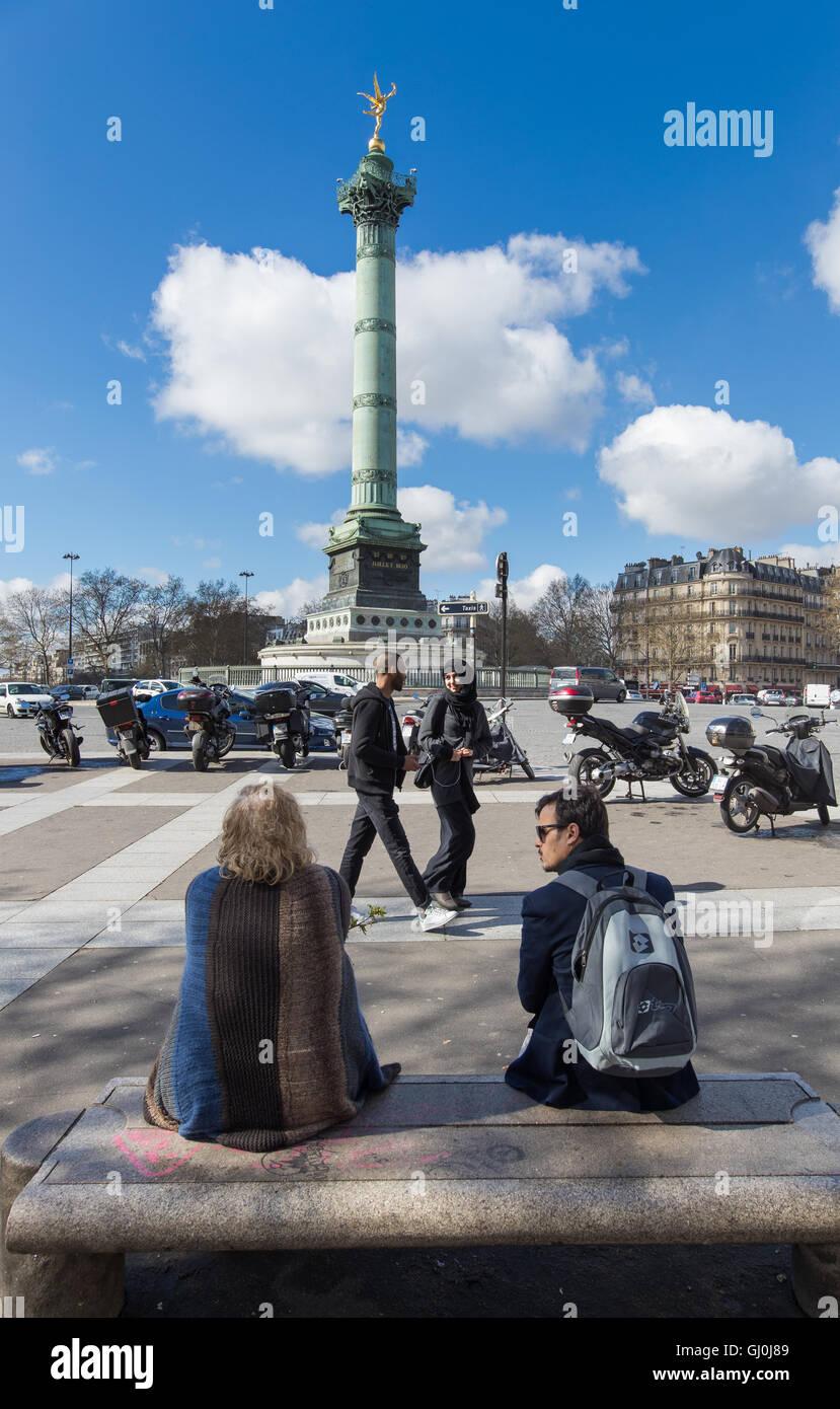 Platz De La Bastille, Paris, Frankreich Stockbild