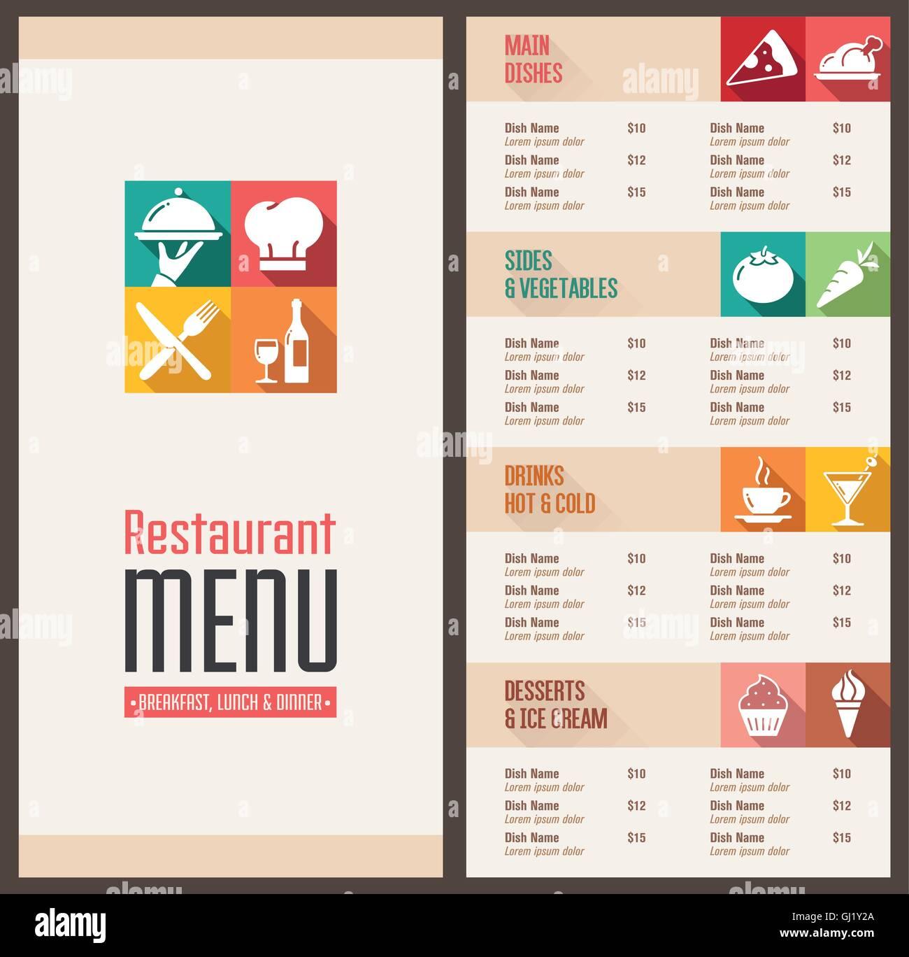 Ein modernes Restaurant Menü Vorlage mit schönen Icons in flachen ...