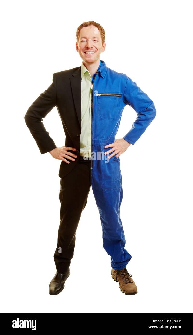 Duales Studium oder Karriere-Wahl-Konzept mit einem Mann gekleidet halbe Arbeiterin und halbe Geschäftsmann Stockbild