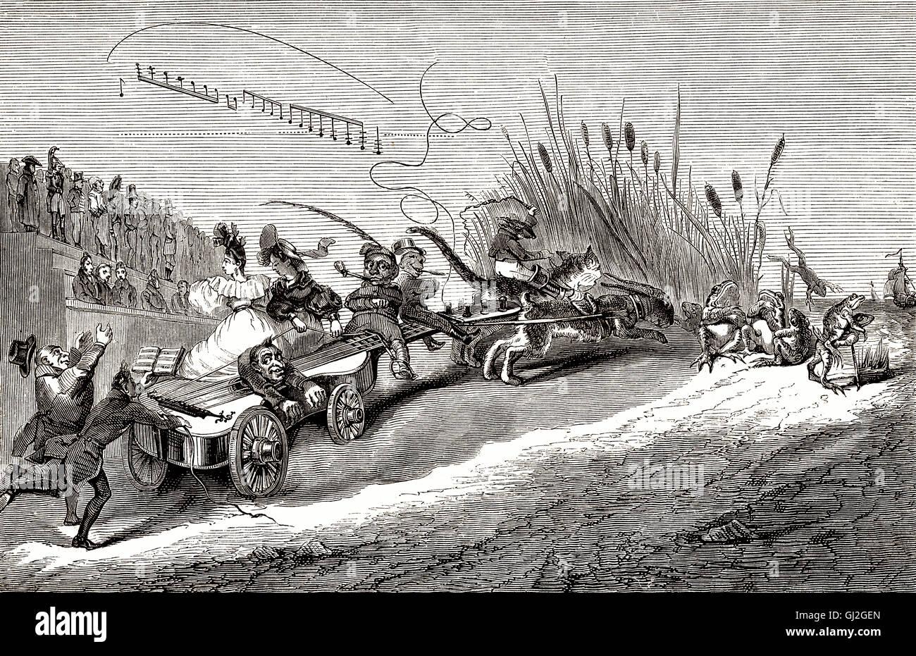 Gitarre, figurale Kompositionen, historische Karikatur von Grandville oder Jean Ignace Isidore Gérard, französischer Stockbild