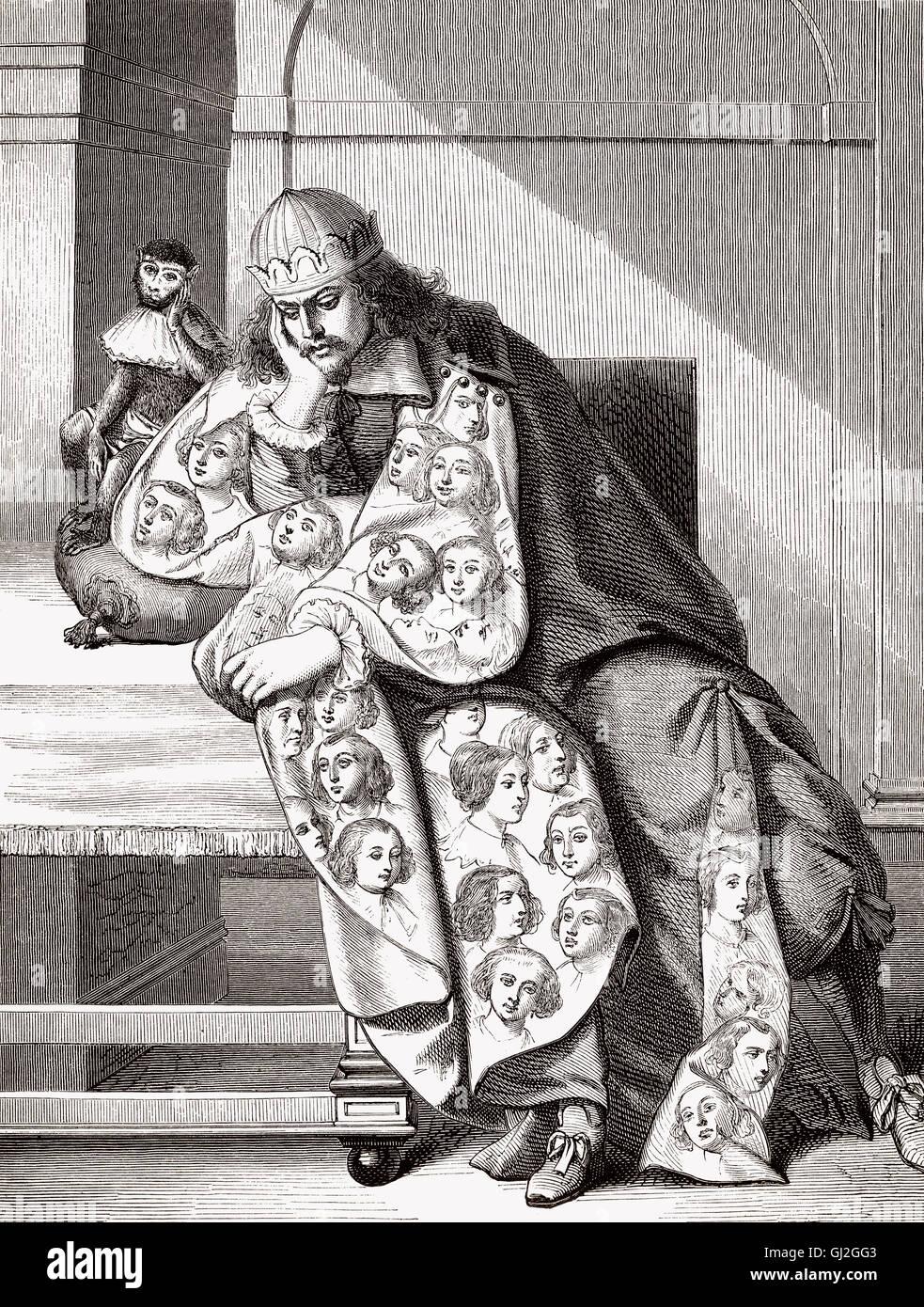 """Melancholischen Charakter namens """"Mann der Sünde"""", 1634, von Abraham Bosse, c. 1602-1676, französischer Stockbild"""