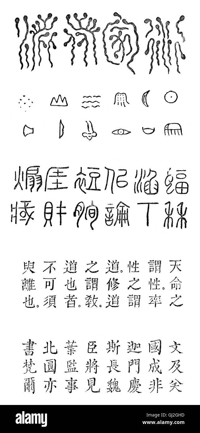 Alte chinesische Schriftzeichen Stockbild